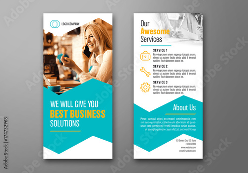 Business DL Flyer Layout with Teal Accents 1 Buy this stock