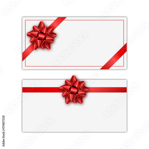 Set of white holiday gift card with red ribbon and bow Template for