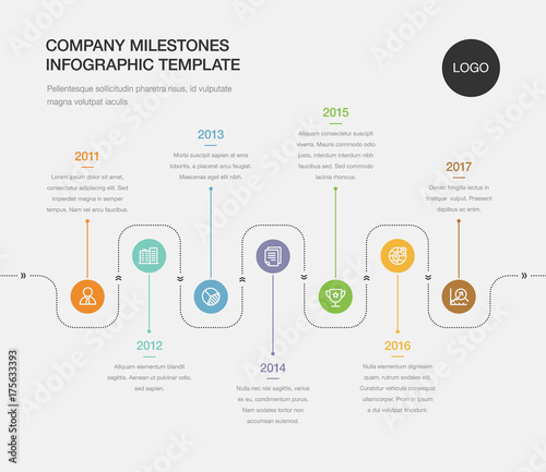 Vector infographic company milestones timeline template Easy to use