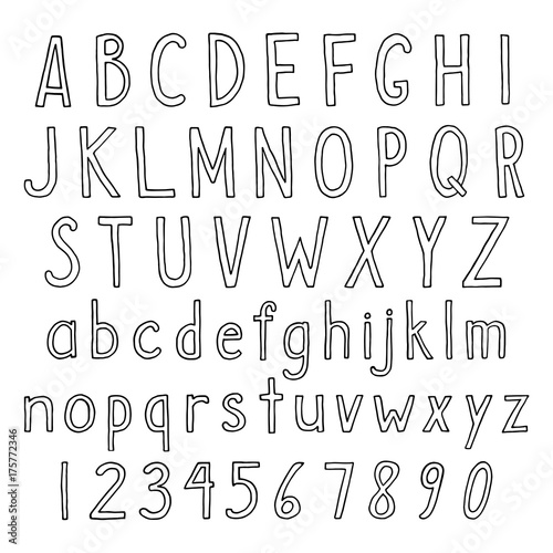 Hand drawn alphabet in thin linear style Vector set of simple semi