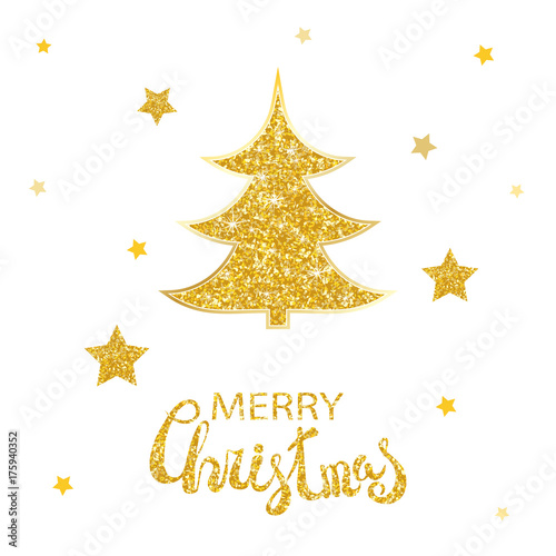 Vector christmas abstract fir tree and shining golden stars Glowing