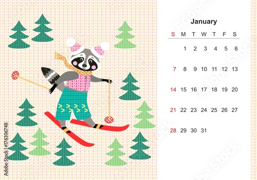 January Colorful monthly calendar for 2018 with cute raccoon