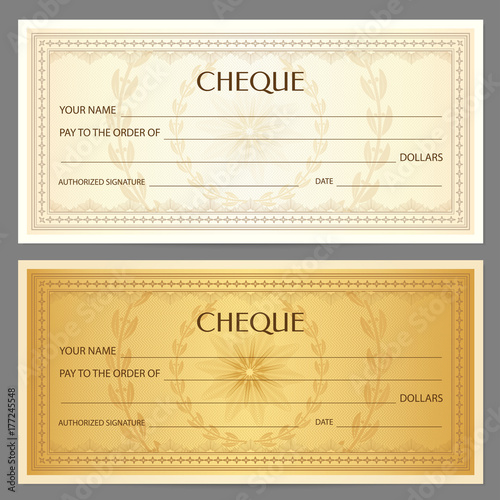 Check (cheque), Chequebook template Guilloche pattern with