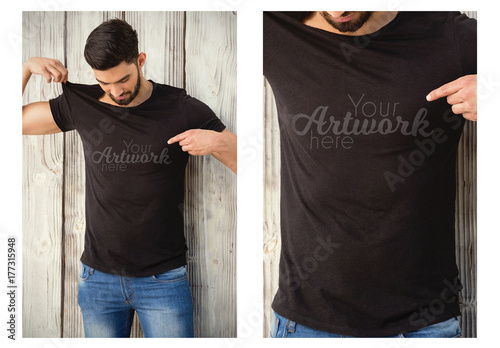 Man in a Black T-Shirt Mockup 1 Buy this stock template and explore
