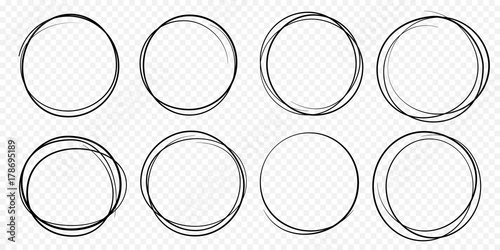 Hand drawn circle line sketch set Vector circular scribble doodle