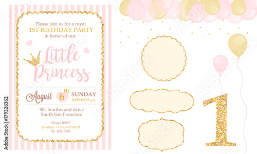Pink and gold princess party decor Cute happy birthday card
