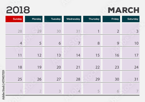 Monthly Desk Pad Calendar template, March 2018 Vector illustration