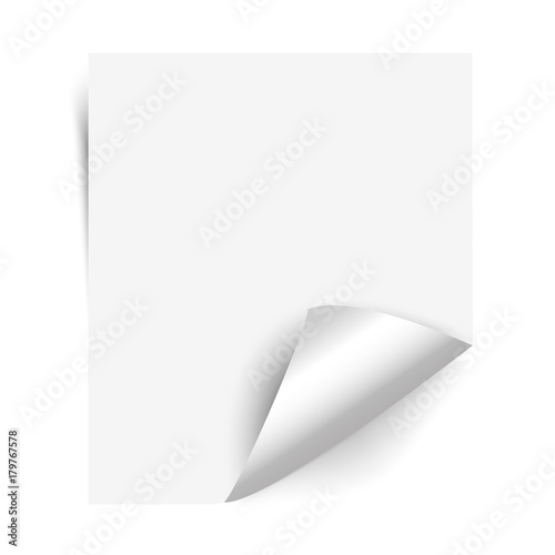 Curly page corner realistic shadow on blank sheet of paper Isolated - blank sheet of paper with lines