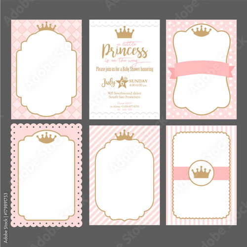 Birthday Invitation Application A Set Of Cute Pink Templates For Invitations. Vintage Gold