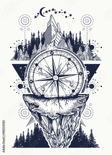 Compass, mountains and night forest boho style, t-shirt design