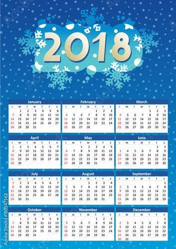 2018 full year calendar, for A4, Letter or A3 paper size, of winter