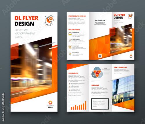 Tri fold brochure design Orange DL Corporate business template for