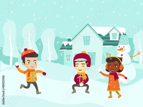 Multicultural children playing snowball fight and having fun in snow - cartoon children play