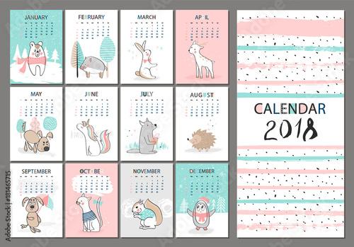 Monthly creative calendar 2018 with cute animals Concept, vector