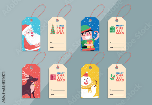 4 Christmas Gift Tag Layouts with Festive Illustrations Buy this - christmas bookmark templates