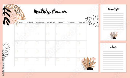 Cute Monthly Planner with flowers, to do list, notes, printable