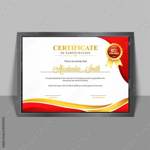 Certificate of participation template with yellow and red abstract