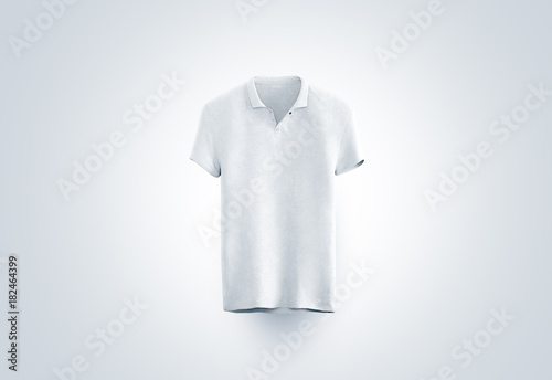 Blank white polo shirt mock up isolated, front view, 3d rendering