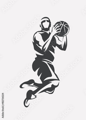 basketball player jumping stylized vector silhouette, logo template