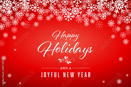 Red Happy Holidays and Joyful New Year Vector Illustration 1 - Buy - happy holidays and new year greetings