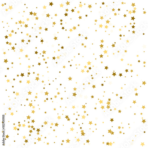 Abstract Background with Many Random Falling Golden Stars Confetti