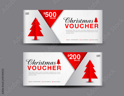 Christmas Voucher template layout, business flyer design, coupon