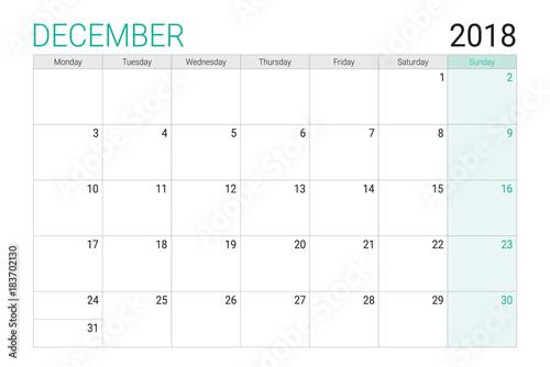 2018 December calendar or desk planner, weeks start on Monday - Buy