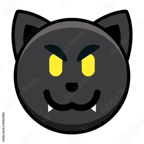 Cartoon Black Cat Emoji Isolated On White Background - Buy this