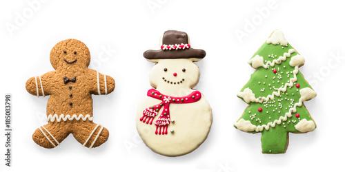 Christmas cookies, snowman, X\u0027mas tree, gingerbread isolated on