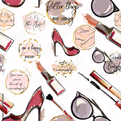 Trendy fashion vector wallpaper pattern with cosmetics, shoes