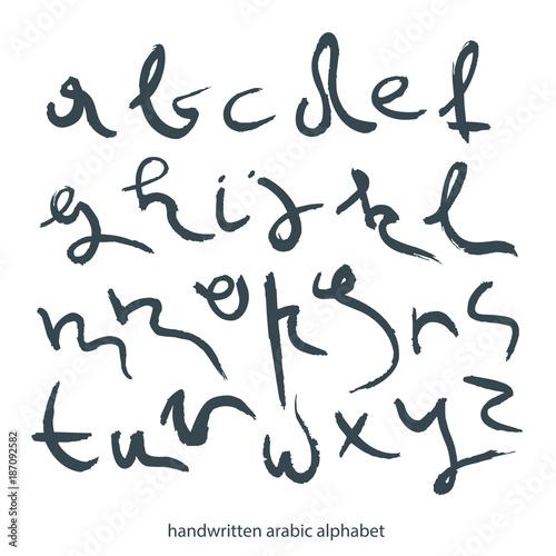 The font alphabet vector set Handwritten lowercase black letters in