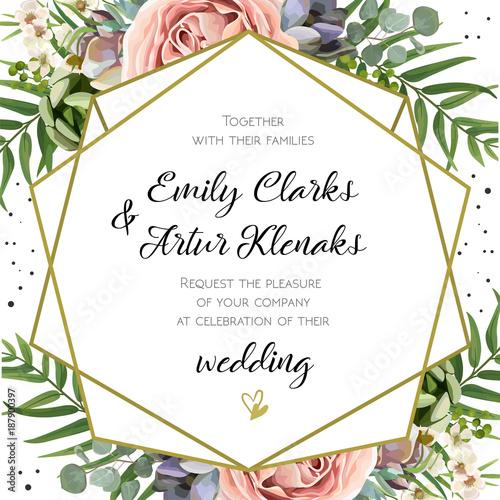 Wedding Invitation, floral invite card Design Peach lavender pink