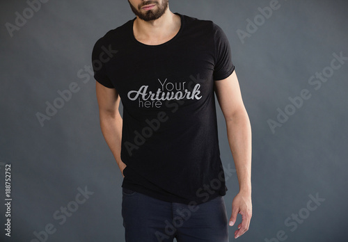 Man in Black T-Shirt Mockup 2  Buy this stock template and explore