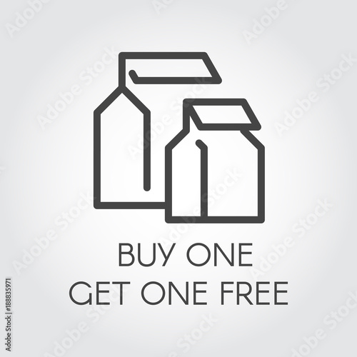 Buy one get one free concept line icon Abstract package label