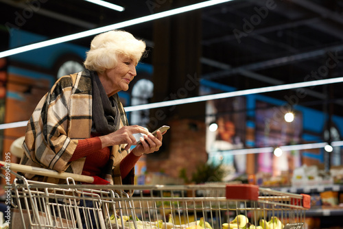 Side view portrait of elegant senior lady grocery shopping in