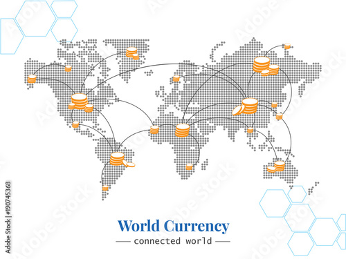 World Currency Bitmap of world connected with many types of coin