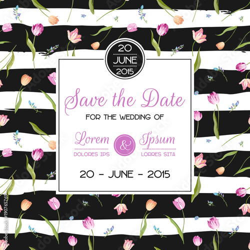 Save the Date Wedding Card with Blossom Tulips Flowers Birthday