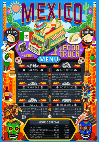 Fast food truck festival menu Mexican taco chili pepper burrito - food truck menu template