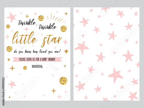 Baby shower invitation template, backgtround with pink stars design