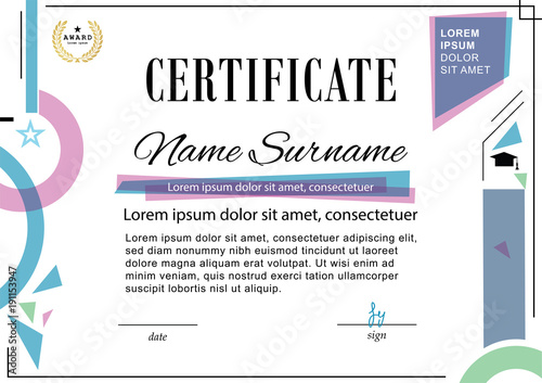 Official certificate Business template Blue pink design elements