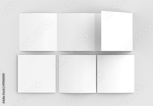 Square four folded - 4-Fold - brochure mock-up isolated on soft gray