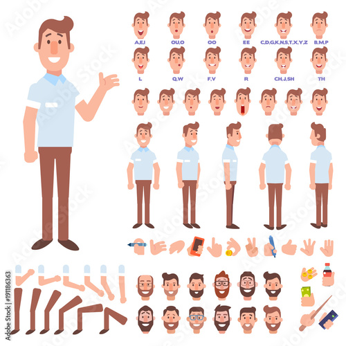 Flat Vector Guy character for your scenes Character creation set
