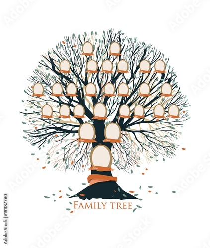 Family tree, pedigree or ancestry chart template with branches