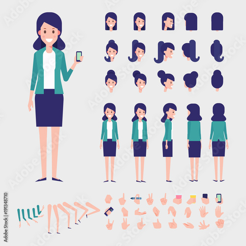 Flat Vector Business Woman character for your scenes Character