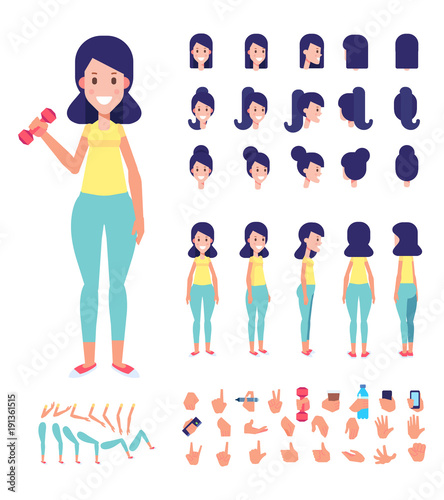 Sporty Girl character for your scenes Vector Character creation set