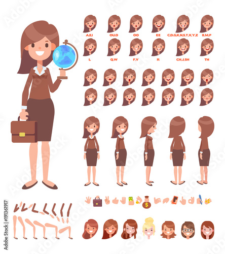 Front, side, back view animated character Young woman teacher