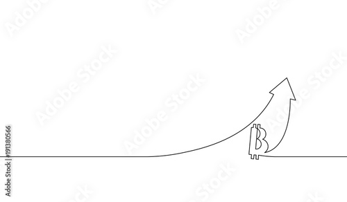 Single continuous line art bitcoin cryptocurrency arrow up Up chart