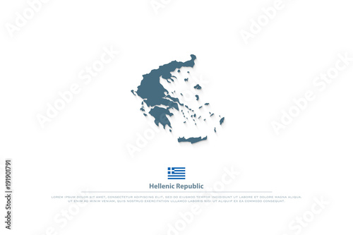 Hellenic Republic isolated map and Greek official flag icons vector