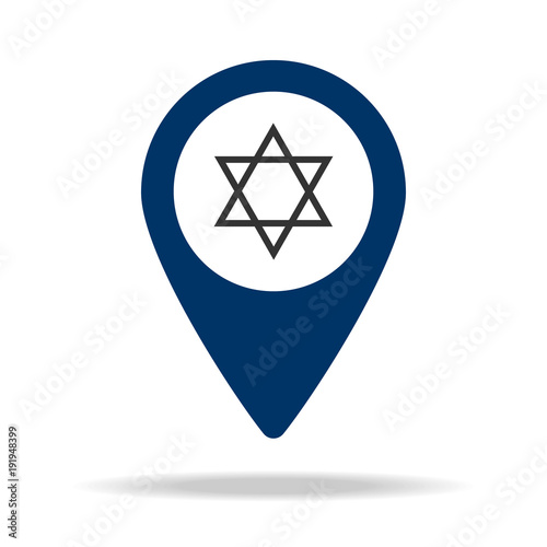 synagogue in blue map pin icon Element of map point for mobile