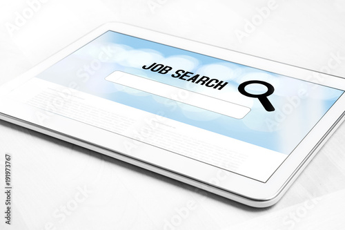 Online job search engine website on tablet screen Browsing work